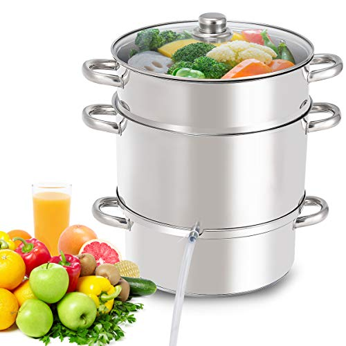 Giantex 11 Quart Juice Steamer Fruit Vegetables Juicer Steamers w Tempered Glass Lid Hose Clamp Loop Handles Stainless Steel Steam Juicer Multipots Kitchen Cookware for Making Juice Jelly Pasta
