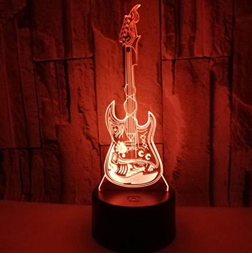 Kids Night Light Plug In Usb Control Remote Geschenk Nachtlicht, Pattern Gitarre, Illusion Led Nachtlicht Tischlampe, Geschenke Für Frauen