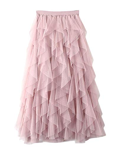 DianShaoA Donna Gonna Lunga di Tulle Elastico in Vita Stile Elegante Casual Irregolare Tulle Gonna Pieghe Pink