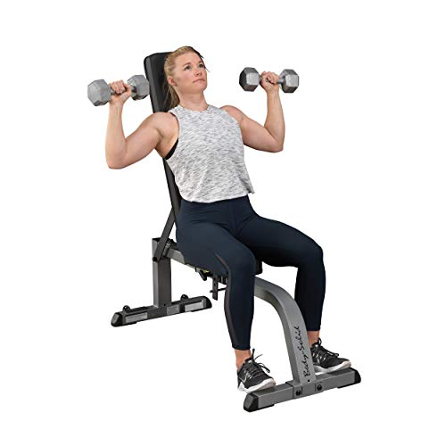 Product Image 3: Body-Solid GFI21 Adjustable 600 lbs. Capacity Flat Incline Weight Bench for Strength Training, Stretching, Ab Exercises, and Dumbbell Curls,Gray