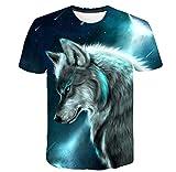 EIN Kurzärmeliges T-Shirt Mit Wolfs-Tiermotiv Schlankes, Kreatives 3D-Gedrucktes Kurzärmeliges Top-2Xl