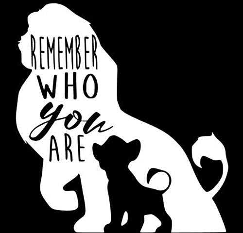 YINGKAI Lion King Mufasa & Simba Remember Who You are Quote Saying Vinyl Wall Window Glass Art Decal Sticker Car Laptop Decals for Shop Office Home Cafe Hote Classroom Car Laptop Home Decoration