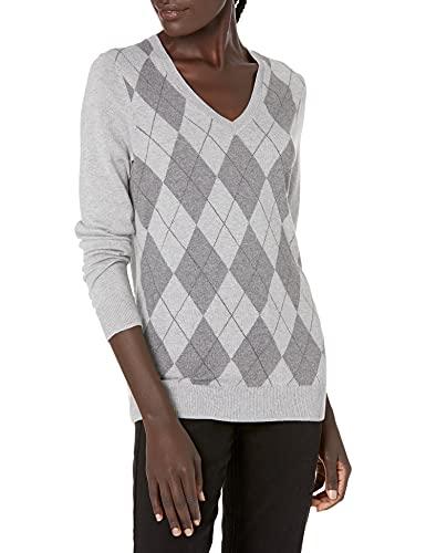 Amazon Essentials Women's Lightweight Long-Sleeve V-Neck Sweater, Light Grey Heather Argyle, X-Small