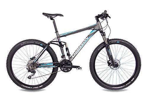 CHRISSON 27,5 Zoll Mountainbike Fully – Hitter FSF grau blau – Vollfederung Mountain Bike mit 30 Gang Shimano Deore Kettenschaltung – MTB Fahrrad für Herren und Damen mit Rock Shox Federgabel - 4