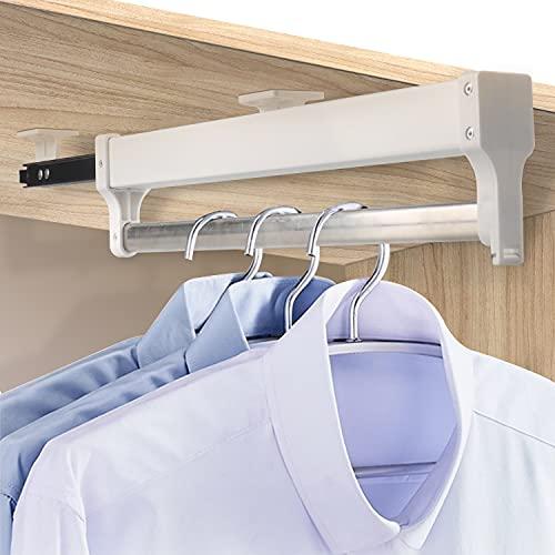 YULE Percha de armario extraíble de 50 kg para soporte superior pesado, con rodamiento de bolas, barra de rodamiento de bolas, ajustable, para guardarropa (color: blanco, tamaño: 40 cm)
