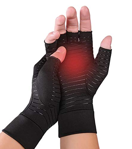 Upgraded Half Finger Arthritis Gloves Compression Therapy Gloves Relief Stiff Joints, Inflammation, Carpal Tunnel, Rheumatoid Pain, Non Slip Cosy Gloves for Housework, Typing, Cycling, Driving