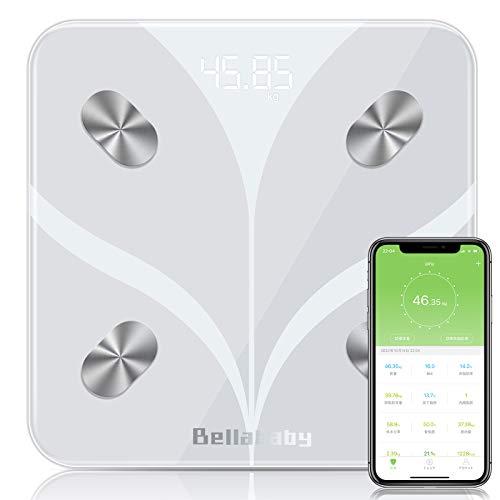 体重計 体組成計 体脂肪計 高精度 スマホ ボディスケール 体脂肪 体水分 筋肉量 基礎代謝量 BMIなど 多項指標 Bluetooth対応 iPhone Androidアプリで健康管理 体重管理 ホワイト