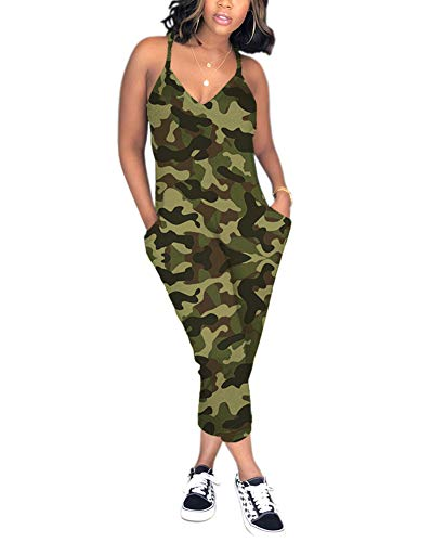 Ophestin Womens Casual Sleeveless V Neck Racerback Plus Size Camouflage Jumpsuit Army Green Size XXXL