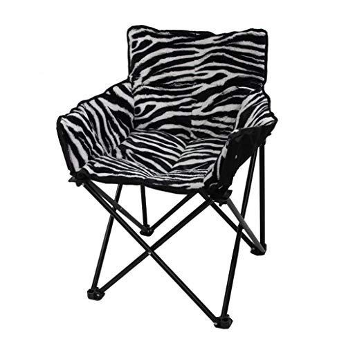 LCHAIR Klappstuhl, Gemütlich Abnehmbares Sitzkissen Tragbarer Hocker Zum Zuhause Garten Balkon (Color : Zebra Pattern)