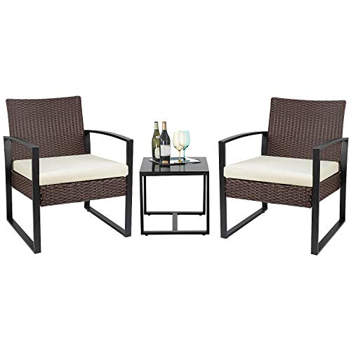 Flamaker 3 Pieces Patio Set Outdoor Wicker Patio Furniture Sets Modern Bistro Set Rattan Chair Conversation Sets with Coffee Table for Yard and Bistro (Brown and Cream)