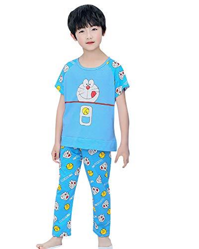 FyoFya Pijama para Niñas, Algodón Camisón Pijamas Dos Piezas Ropa de Dormir para Niños Camiseta con Estampado Animados y Pantalones lencería Neglige Camisones (Doraemon, 150)