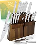 DALSTRONG Knife Set Block - Gladiator Series - 18-Pc Colossal Knife Set - German HC Steel - Acacia Wood Stand - White ABS Handles - NSF Certified