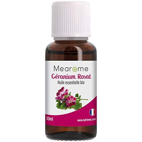 Huile Essentielle de GERANIUM ROSAT BIO - Pelargonium Asperum - Distillée en FRANCE - Mearome - 30 ml - 100% Pure et...