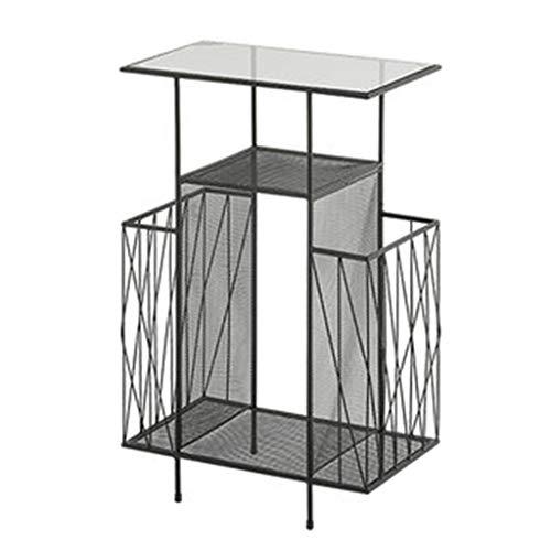 Tables basses Petite en Fer Forgé Bibliothèque De Bureau Table De Téléphone Support Multicouche Petite Table Cadeau (Color : Black, Size : 45 * 26 * 68cm)