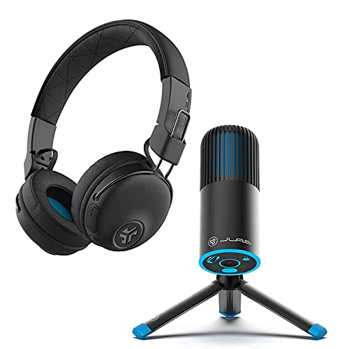 JLab Talk Go USB Microphone + Studio Pro Over-Ear Wireless Headphones | for Conference Calls, podcasting, Voice Overs & Home Studios