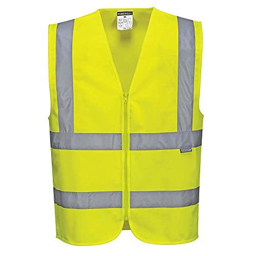 Portwest Hi-Vis Zipped Band & Brace Vest, Colour: Yellow, Size: L, C375YERL