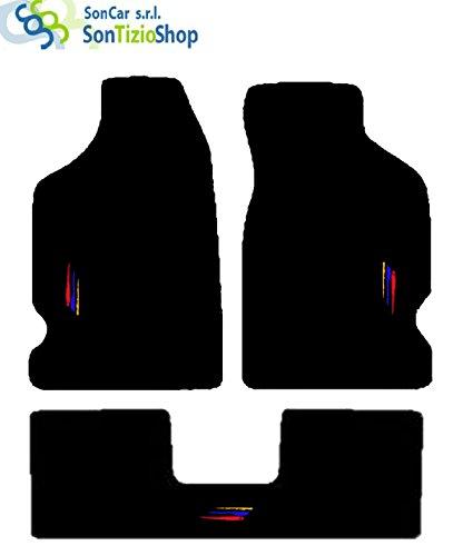 SonCar Tappeti per Auto. Set Completo di Tappetini Artigianali in Moquette e su Misura con Ricamo a Filo