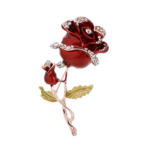 Ivyday Charm Rose Flower Shape Brooch Pins Enamel Metal Rhinestone Brooch for Women,Red