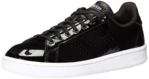 adidas Women's Advantage Tennis Shoe, Black/White/Matte Silver, 7.5