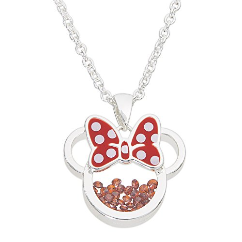 """Disney Birthstone Women Jewelry Minnie Mouse Silver Plated January Garnet Red Cubic Zirconia Shaker Pendant Necklace, 18+2"""" Extender"""