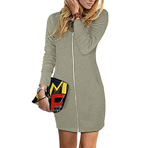 Damen Kleider Sommer Herbst V Ausschnitt Lange Ärmel Reißverschluss Sexy Strandkleid Jeanskleid Kleid Großer Größe Boho Kleid Polyester Bedruckt Partykleid Tasche Shirt Minikleid (EU:40, Beige)