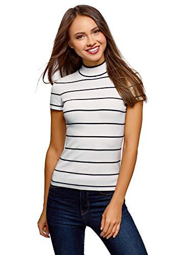 oodji Ultra Damen Kurzarm-Pullover mit Stehkragen| Weiß| DE 32 / EU 34 / XXS | Bekleidung > Pullover > Kurzarmpullover | oodji Ultra
