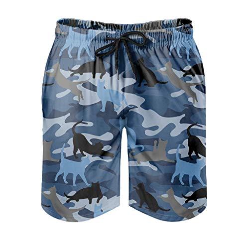 Haythan Bañador para hombre, diseño de camuflaje, color azul blanco XXXXXXL
