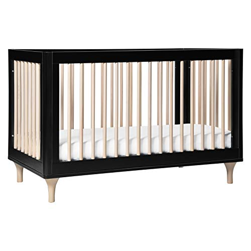 Babyletto Lolly 3-in-1 Convertible Crib with Toddler Bed Conversion Kit in Black/Washed Natural, Greenguard Gold Certified