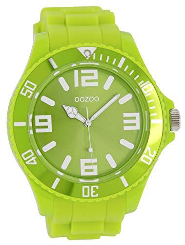 Oozoo Timepieces - XXL Herrenuhr mit Kautschukband - C4167 hellgrün