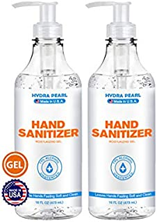 Hydra Pearl Premium Hand Sanitizer Gel - 70% Alcohol - Unscented - Made in USA (16 oz (2-Pack))