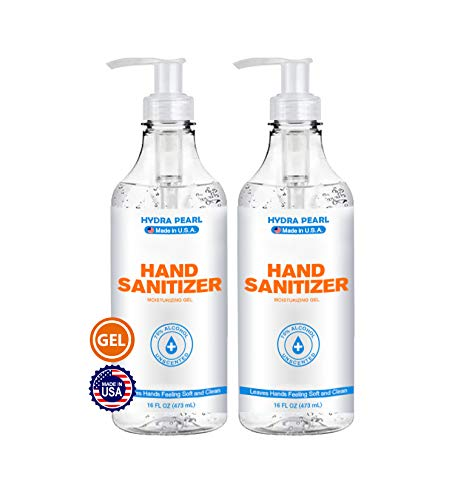 Hydra Pearl Hand Sanitizer Gel - 70% Alcohol - Unscented - 16 oz With Pump (2-pack) - Made in USA