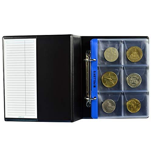 PELLER'S Album de Collection, 60 Pochettes pour Monnaies ou jetons jusqu'à 48 mm de diamètre. Classeur S avec 10 Feuilles.