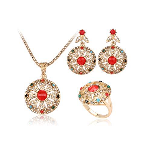 YAZILIND Mujer Rhinestone Hueco Flor Colgante Vintage Collar Pendientes Anillos Elegante Boda Boda joyería Nupcial Conjunto Rojo (Tamaño 14,5)