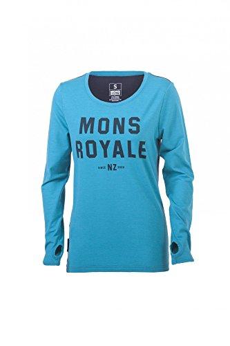 Mons Royale Riders Crew T-Shirt Manches Longues mérinos pour Femme L Bleu - Med Blue/Charcoal
