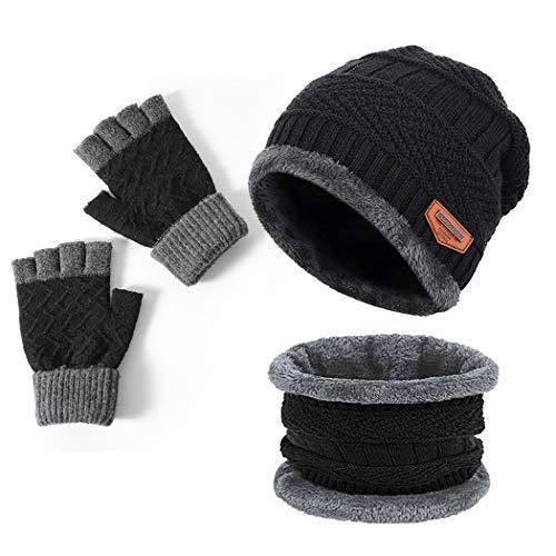 ニット帽子 ネックウォーマー 暖かい マフラー 手袋 男女兼用 防寒 防風 保温 運動 遠足 旅行 通勤用 (ブラック-3点セット)