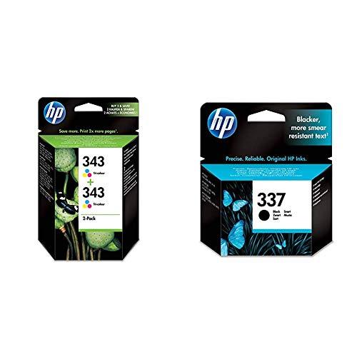 HP 343 CB332EE pack de 2, cartouches d'encre d'origine, imprimantes HP DeskJet, trois couleurs & 337 C9364EE pack de 1, cartouche d'encre d'origine, imprimantes HP DeskJet, HP OfficeJe, noir