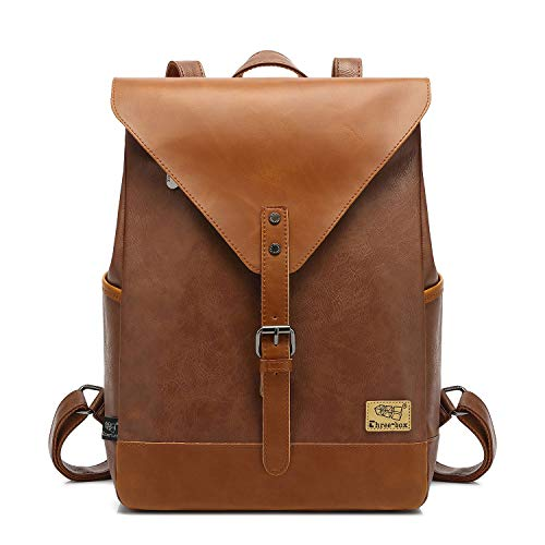 【DIMENSION】:11.02 x 14.96 x 4.33 inches (L*H*W).Main compartment fits laptop up to 15.3 inch. 【PU LEATHER BACKPACK】:Book bags for women men are made of high quality and eco-friendly faux leather. Water-resistance & Stain resistant & Easily cleanable....