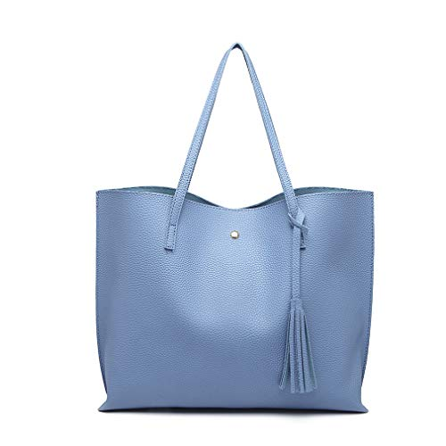 Miss Lulu Bolsos de moda para mujer Cuero PU Asa superior Bolsa de asas Hombro Satchel Bag (Azul)