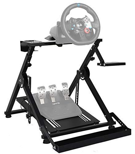 Minneer Lenkradständer für Logitech Fanatec Thrustmaster Clubsport mit Seilzug, zusammenklappbar, neigbar, feststehend, ohne Rennrad, Schalthebel, Pedale