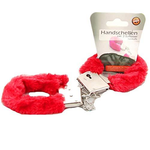 Plüsch-Handschellen inkl. 2 Schlüssel Rot Party sexy erotische Spiele Fesseln