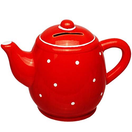 alles-meine.de GmbH große Spardose - Kaffeekanne / Teekanne - stabile Sparbüchse - aus Porzellan / Keramik - mit Verschluss - Sparschwein - für Kinder & Erwachsene / lustig witzi..