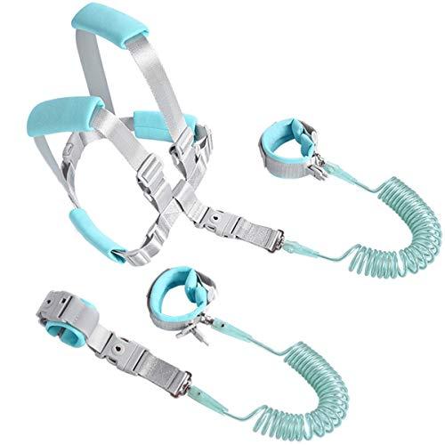 Kinder Sicherheitsleine,Xiuyer 2.5m Anti-verloren Verstellbar Handgelenk Gürtel 2 in 1 Baby Kleinkind Sicherheit Leine Laufgurt und Abnehmbar Armband mit Sicherheitsschloss(Blau)