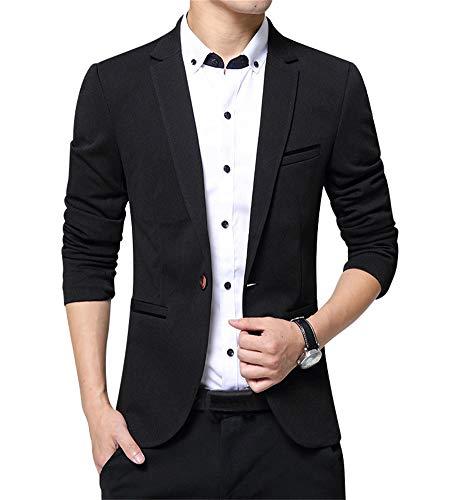 ZiXing Herren Slim Fit Premium EIN Knopf Geschäft Blazer Anzugjacke Schwarz XX-Large