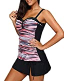 Yonique Womens Tankini Swimsuits with Skirt Two Piece Ruched Bathing Suits Push Up Swimwear Pink Striped M