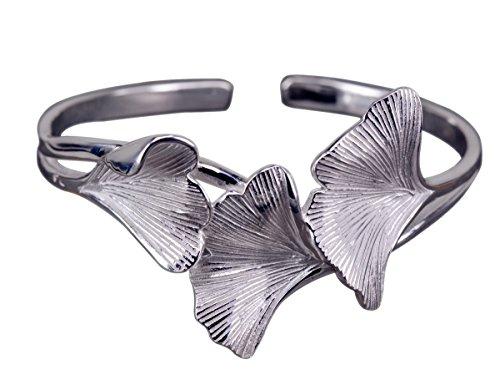 NicoWerk Silber Armreif Ginkgo-Blatt Ginko Natur Breit Matt Glatt Armspange Armband 925 Damen Schmuck Geschenk Sterling SAR117
