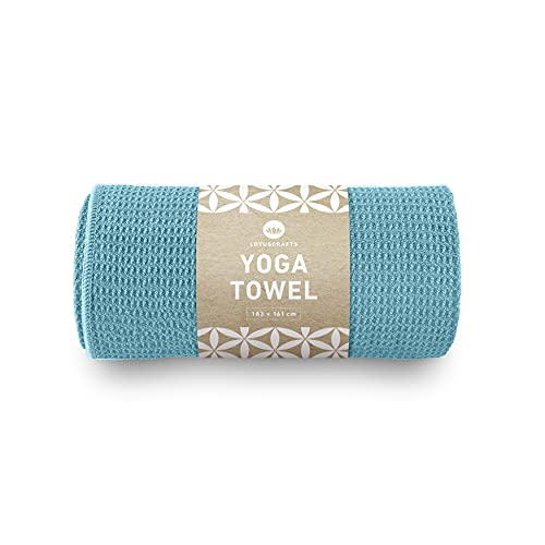 Lotuscrafts Hot Yoga Towel Grip - Non-slip & Fast-drying - Non Slip Yoga Towel with Excellent Ground Grip - Hot Yoga Mat Towel Non Slip - Bikram Yoga Towel - Yoga and Pilates Towel [72' x 24']