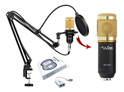 Microfone Bm800 Plus + Pop Filter + Suporte Móvel de Mesa Waver (Dourado)