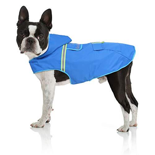 Bella & Balu Impermeabile Cane - Cappotto Impermeabile per Cani con Cappuccio e Catarifrangenti per Protezione dal Freddo, Pioggia e Neve in Inverno e in Vacanza. (S| Blu)