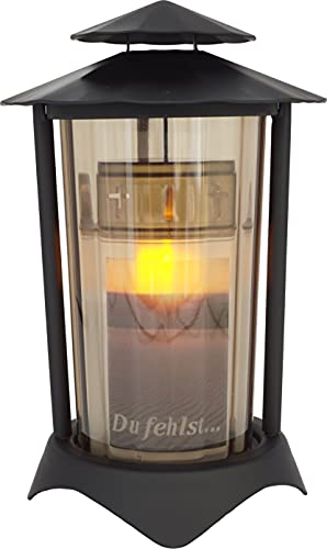 Grablaterne, Grableuchte aus Metall rund inkl. LED-Kerze 21 cm (Laterne: Schwarz - Glas: Bronze)