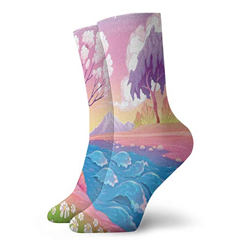 Soft Mid Calf Length Socks,Astral Landscape With Fictional Fantasy Trees And River Waves Daisy Magical Picture,Socks for Men Women